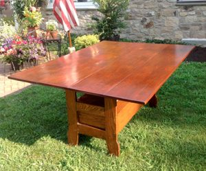 vintage wood table in yard